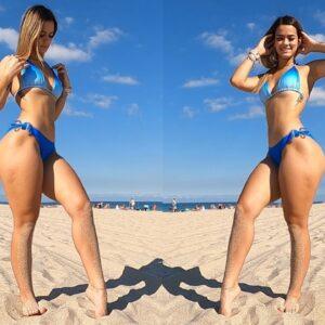 Big Butt and Thick Legs Bikini Model Beach Workout!!
